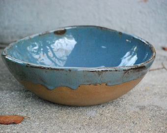 ceramic Serving  bowl handmade pottery  blue brown handmade ceramics