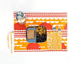 Child placemat. Eco friendly placemat with cutlery pocket. Organic place mat, child gift in orange yellow