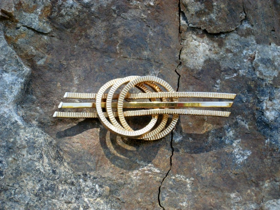 Brooch Large Curved Bars 'n Wreaths 1960s Vintage 60s Retro Costume Jewelry