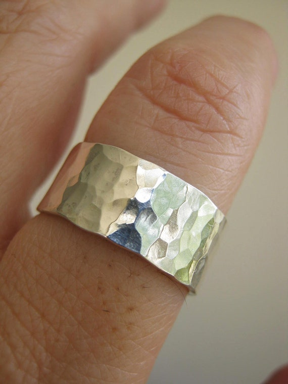 Sterling Silver Wide Hammered Band / Unisex - Rustic- Satin finish or Mirror finish, 18 ga -1mm- thick, Choose Your Width