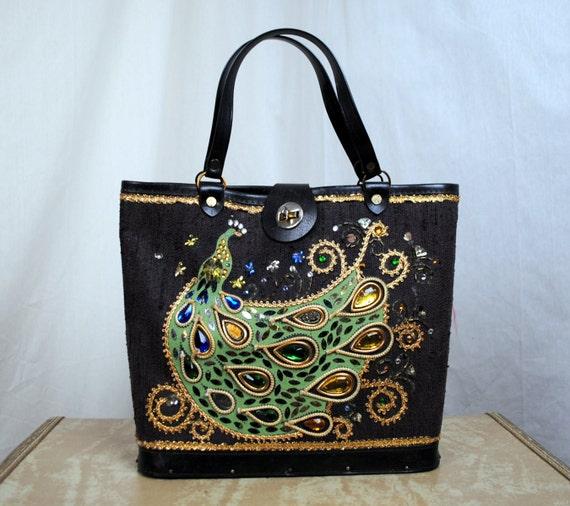 Vintage 60s Enid Collins Style Bucket Handbag - Peacock