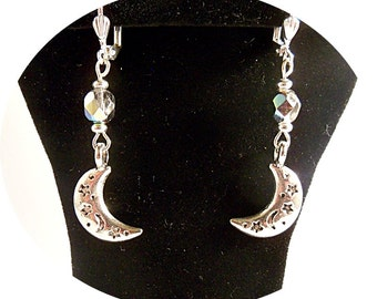 Crescent Moon Earrings, Silver Moon, Dangle Earrings, Moon and Star