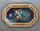 Vintage Florentine Gold & Floral Tole Painted Wood Serving Tray