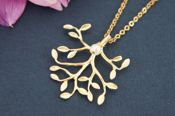 Gold tree necklace - gold tree with pearl necklace, bridal necklace, bridesmaids necklace, pearl necklace