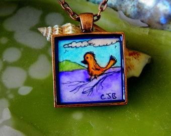 Scruffy Little Spring Time Bird On a Limb Art Pendant Necklace