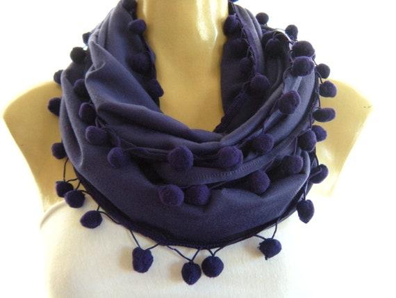 Royal Purple Pompom infinity scarf, Necklace Scarfdark purple cowl with pompoms-Playful Chic
