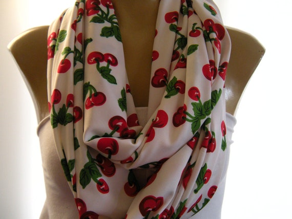 Sweet Cherries...Cowl...Nomad Tube...Infinity Scarf..Tube version...Extra wide