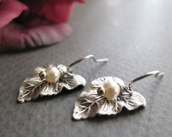 Leaf Earring Dangles, Antique Silver Leaves with Pearls Earrings, Small Leaf Earrings Silver - TINY DEW