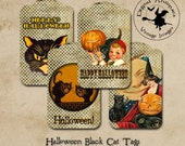Halloween Vintage Black Cat Tags Instant Digital Download