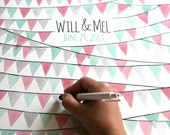 Museum quality wedding Guest Book alternative art print - PENNANT FLAGS painting designed by OnceUponaPaper