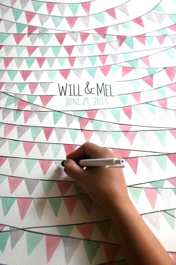Cool Alternative Wedding Gifts : Museum quality wedding Guest Book alternative art print - PENNANT ...