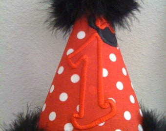 Minnie Mouse Custom Boutique Birthday Girl ,hat Red and Black