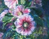 Reserved for Jeannie impasto hollyhock original oil painting impressionism flower floral garden palette knife  fine art 20 x 30