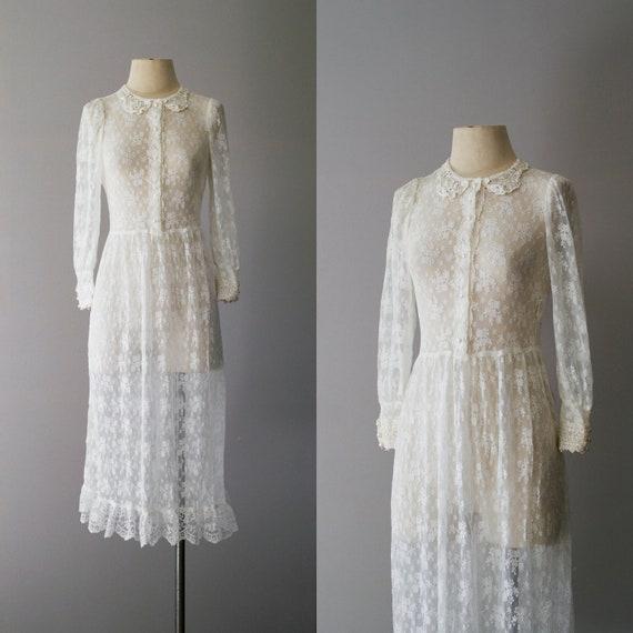 70s dress / 1970s sheer white lace dress  / Make You Mine dress