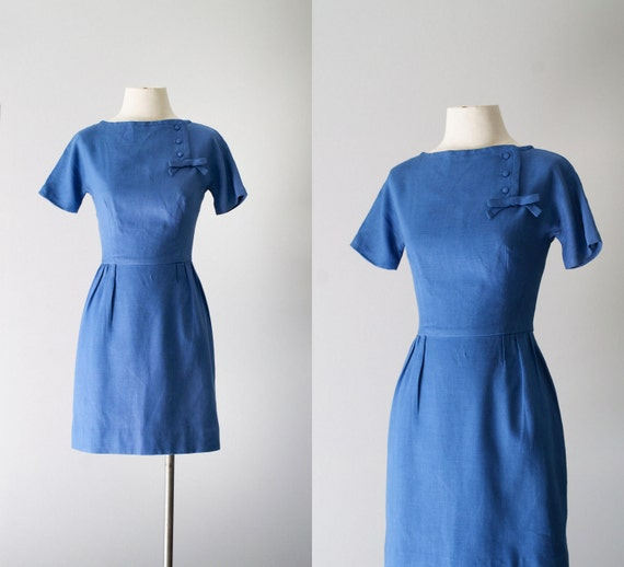 ON SALE 50s dress / 1950s linen mini wiggle dress / Day Like Today dress