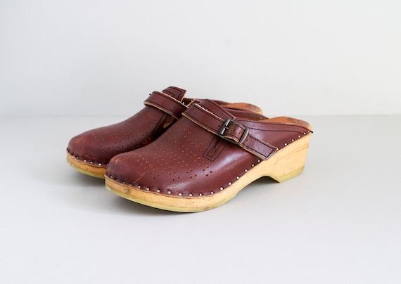 70s clogs / 1970s Swedish clogs size 7.5 / Bastad shoes