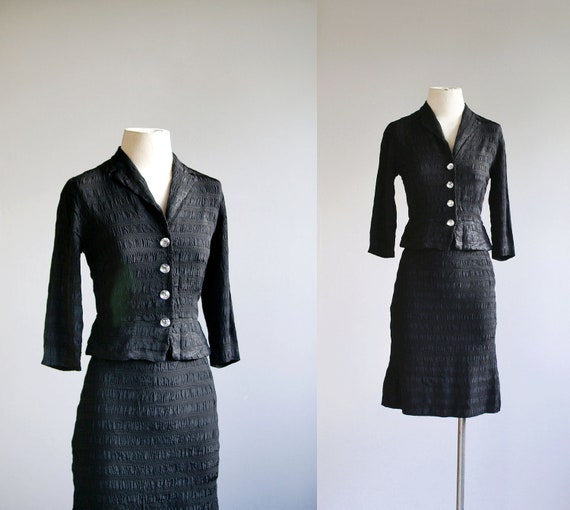 50s suit / 1950s cocktail skirt set / Bijoux Noir dress suit