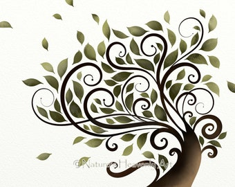 Green Leaf Watercolor Tree, Summer, Whimsical Wall Decor, 8 x 10 Abstract Tree Art Print, Earthy Nature Colors (127)