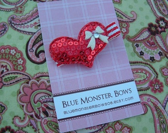 ONE DOLLAR CLIP Red Glitter Heart with Bow Hair Clip No Slip