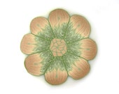 Flower Cane Polymer Clay Cane Millefiori Light Brown And Olive Green Flower Cane