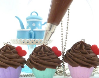 The Bakers Necklace sweet Chocolate Cupcake necklace with Chocolate Pastry Bag charm great as tea party necklace