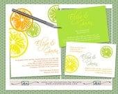 DIY- Summer Citrus Wedding Invitation Suite, printable