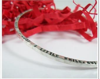 Personalized Bangle Bracelet - Hand Stamped Quote Bangle -Mommy Bracelet-Secert Message Bracelet-Stackable Bangle Bracelet - Sterling Silver