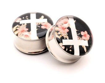 Vintage Floral Cross Picture Plugs gauges - 16g, 14g, 12g, 10g, 8g, 6g, 4g, 2g, 0g, 00g, 7/16, 1/2, 9/16, 5/8, 3/4, 7/8, 1 inch