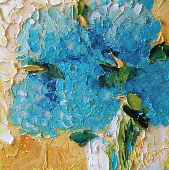 Still life Original Oil Fine Art Impasto Hydrangeas Jan Ironside