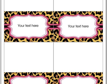 EDITABLE DIY Printable Leopard Print and Pink Tent Cards, Bag Toppers, Thank You Card PDF