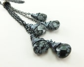 Long Necklace Lariat Dark Silver Jewelry Obsidian Gemstone Necklace Monchromatic Black Lariat