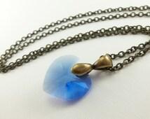 Sapphire Birthstone Necklace Antiqued Brass September Birthstone Jewelry