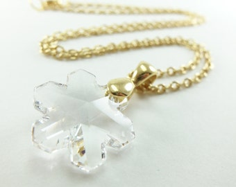 Clear Gold Snowflake Necklace Clear Crystal Snowflake Jewelry Winter Necklace Swarovski