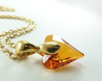 Gold Heart Necklace Gold Jewelry Orange Necklace Crystal Heart Jewelry