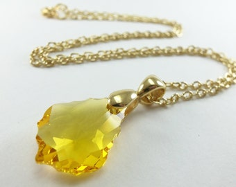 Yellow Pendant Crystal Necklace Gold Jewelry Yellow Crystal Pendant