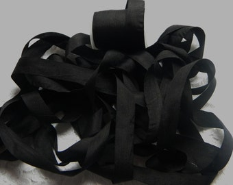 Pure Silk Ribbon 13mm 1/2 inch wide 5 yds  Black Color