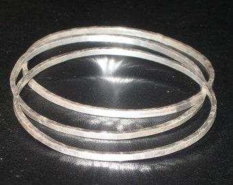 Sterling Silver Hammered Bangle Bracelets Set of 3