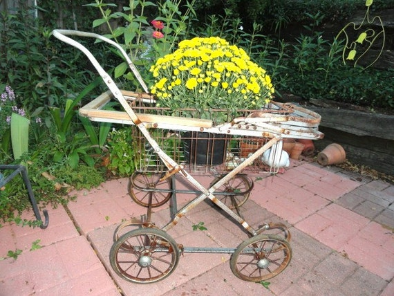 Reserved For Chatty Dee Vintage Garden Cart Basket Plant