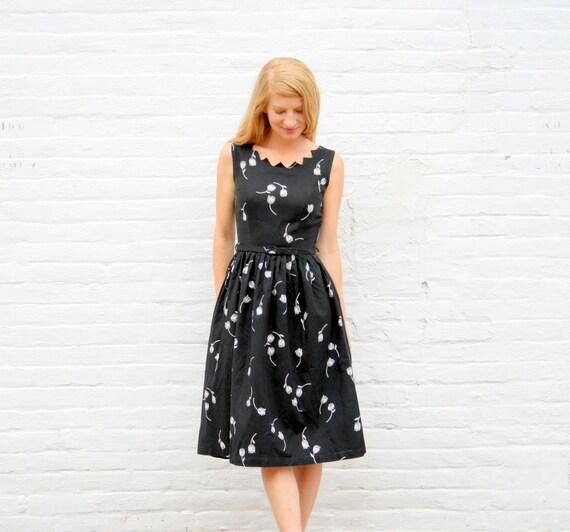 RESERVED For Rebecca....Please do not Buy////Vintage 50's Little Black Day Dress S - Tulip Print COTTON Pique - Unique Neckline - Self Belt