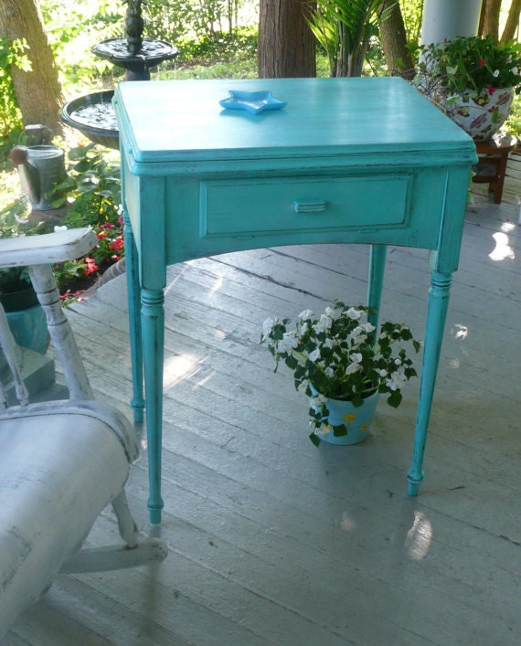 Bedside Accent Table Vintage Poppy Cottage PAINT to ORDER