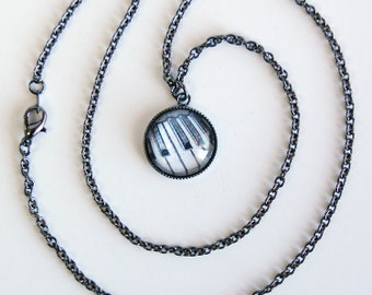 Gunmetal OR Silver Plated Piano Keys Charm Necklace, Keyboard Pendant Necklace, Music Necklace