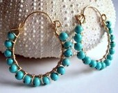 Turquoise and gold wire wrapped hoop earrings, turquoise jewelry, turquoise earrings