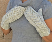 Wool mittens - knitted mittens - oatmeal - women mittens - gift for her - long mittens