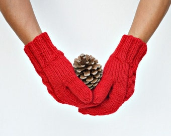 Red knit mittens merino wool Christmas winter holidays gift for her womans gift