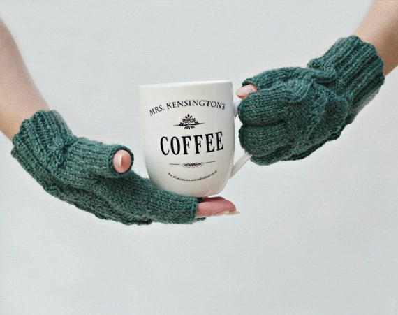 Fingerless gloves wool multishades of green