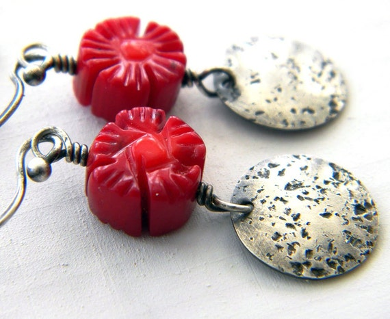 Red Coral Flower Sterling Silver Earrings Hammered Disk Artisan Floral Jewelry