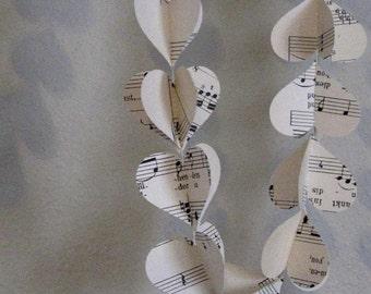 double heart vintage music sheet garland