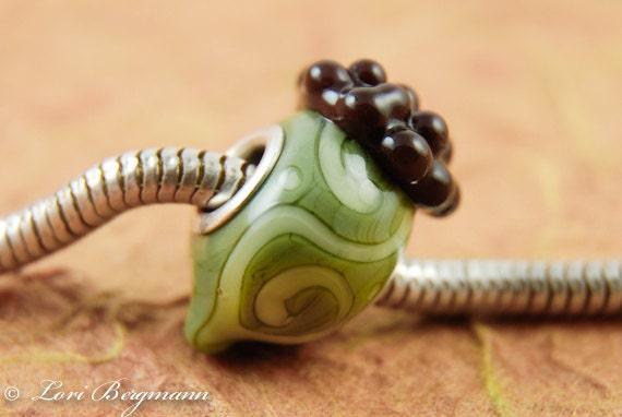 Green Acorn European Charm Bead, Lampwork Glass, Fall, Autumn, Handmade SRA