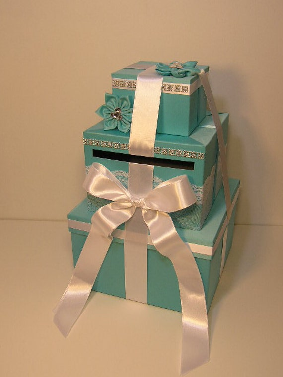 Wedding Gift Box Tiffany Blue : Wedding Card Box Blue Gift Card Box Money Box Holder--Customize your ...