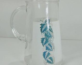 Glass Pitcher with Grape Vine Design on 1 quart pitcher